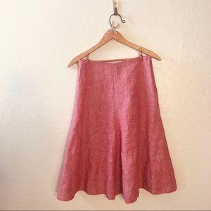 Rose Linen A-Line Skirt